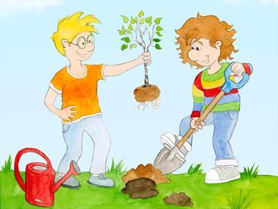 Xaver Wuschelkovsky pflanzt einen Baum | story.one
